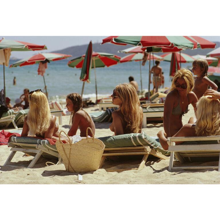 "Slim Aarons - Slim Aarons ""Saint Tropez Beach"" Photograph"
