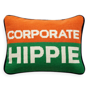 All New - Corporate Hippie Needlepoint Pillow