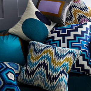 Patterned - Turquoise Bargello Worth Avenue Throw Pillow