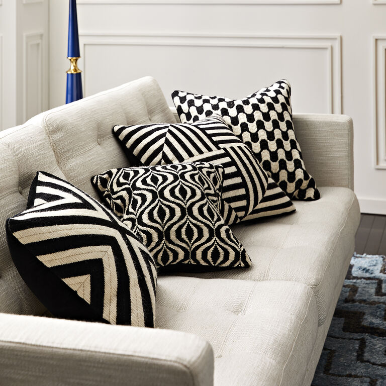 Holding Category for Inventory - Black And White Bridget Bargello Throw Pillow