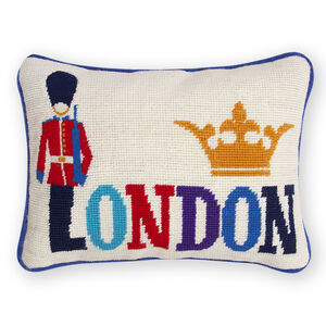 Needlepoint - London Needlepoint Throw Pillow