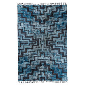 Hand-Knotted - Blue and Navy Stepped Bridget Hand-Knotted Rug