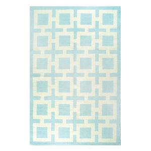 Peruvian Flat Weave - Light Blue Nixon Peruvian Llama Flat Weave Rug