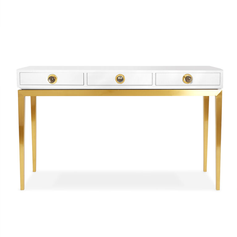 Channing Three Drawer White And Brass Console Modern