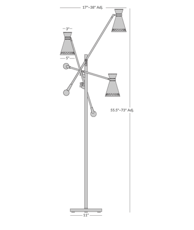Havana Three-Arm Floor Lamp Isometric 1