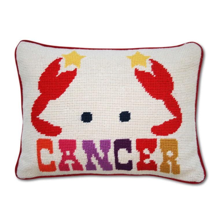 Needlepoint - Cancer Zodiac Needlepoint Throw Pillow