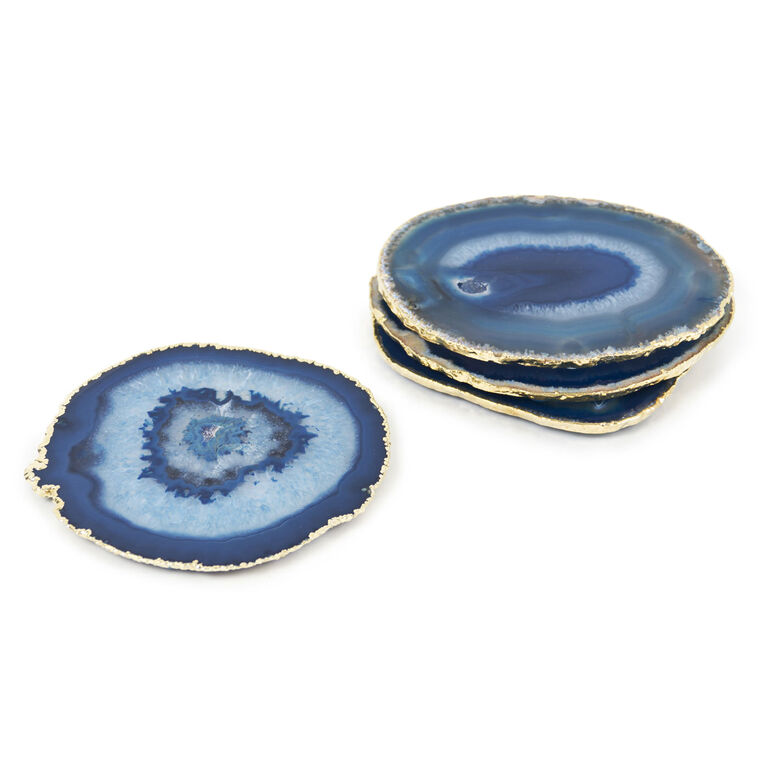 Holding Category for Inventory - Blue and Gold Agate Coasters