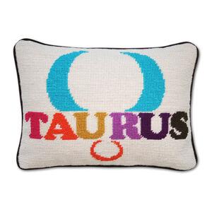 Needlepoint - Taurus Zodiac Needlepoint Throw Pillow