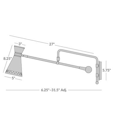 Havana Swing-Arm Sconce Isometric 1
