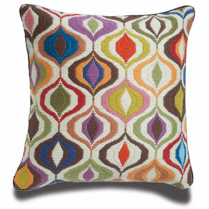 Patterned - Multi Bargello Waves Throw Pillow
