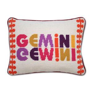 Needlepoint - Gemini Zodiac Needlepoint Throw Pillow