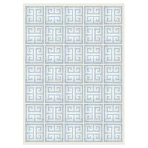 Peruvian Flat Weave - Light Blue Greek Key Peruvian Llama Flat Weave Rug