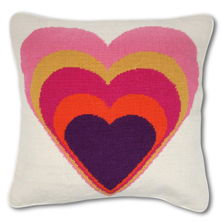 Holding Category for Inventory - Rainbow Heart Needlepoint Throw Pillow