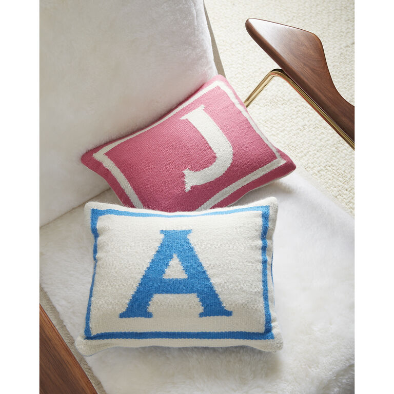 Woven Letter - Reversible Junior Pink Letter Throw Pillow