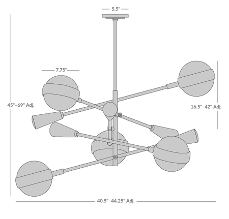 Ipanema Multi-Boom Pendant Light Isometric 1