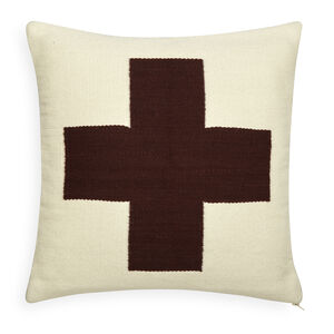Patterned - Reversible Orange/Chocolate Cross Pop Throw Pillow