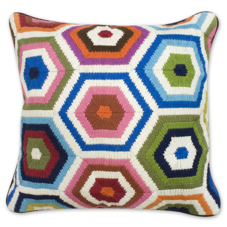 Patterned - Multi Honeycomb Bargello Throw Pillow